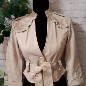 Bebe Ruffled Cropped Leather Jacket